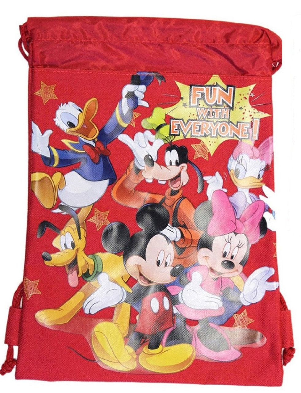 Drawstring Bag - Mickey Mouse and Friends Red Cloth String Bag