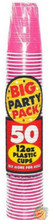 Big Party Pack 12 oz Plastic Cups - Bright Pink