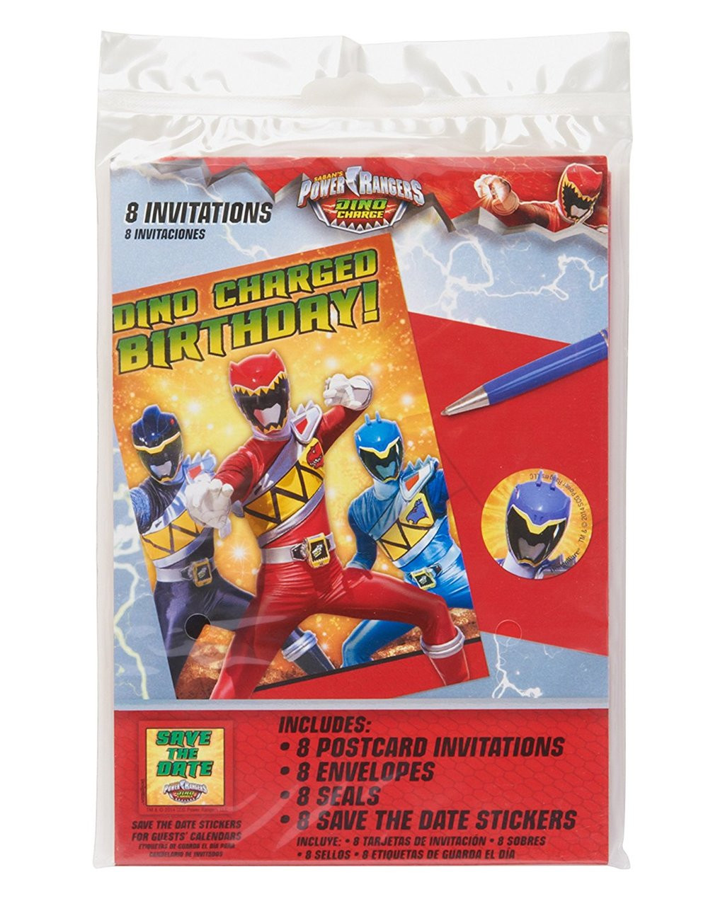 Power Rangers Dino Charge Pack of 8 Invitations