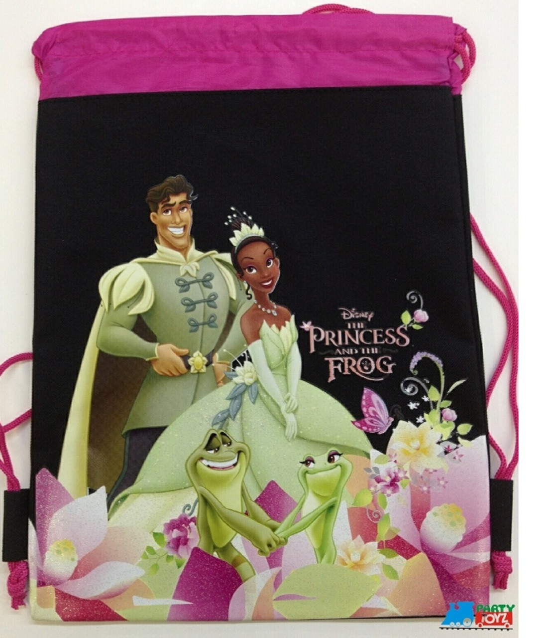 Drawstring Bag - Princess Tiana and the Frog Black Cloth String Bag