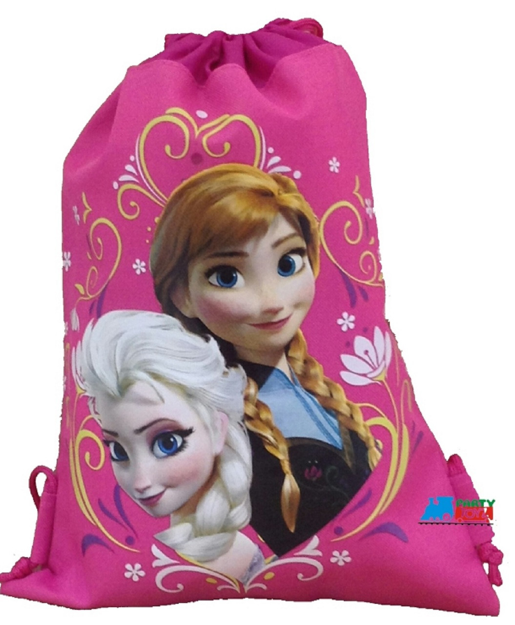 Drawstring Bag - Frozen Princess Anna Elsa Cloth String Bag Sack Pack - Pink