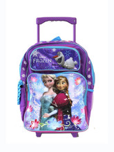 "Frozen Ice Princess Anna Elsa Large 16"" Cloth Backpack with Wheels - Purple"