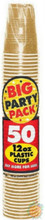 Big Party Pack 12 oz Plastic Cups - Gold