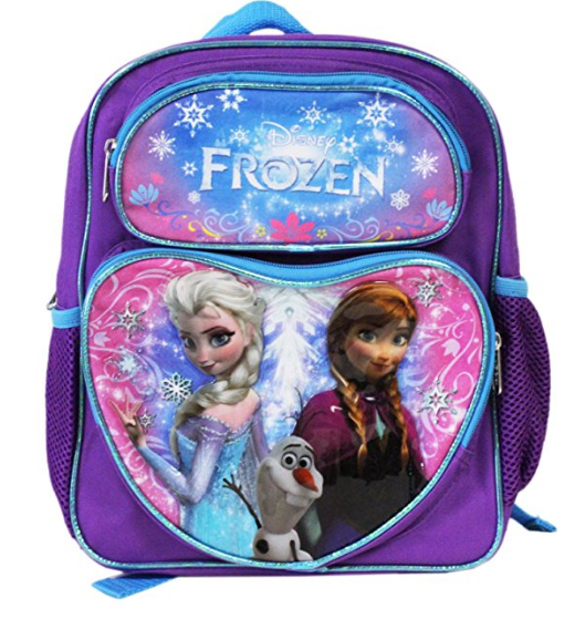 "Frozen Small Toddler 12"" Cloth Backpack Book Bag  - Purple/Blue Outline Heart"