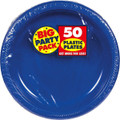 Amscan Reusable Round Plates (Pack of 50), Bright Royal Blue, 10 1/4