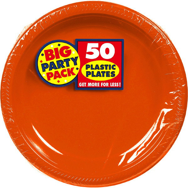 Big Party Pack Large 10 Inch Lunch Plastic Plates - Orange Peel