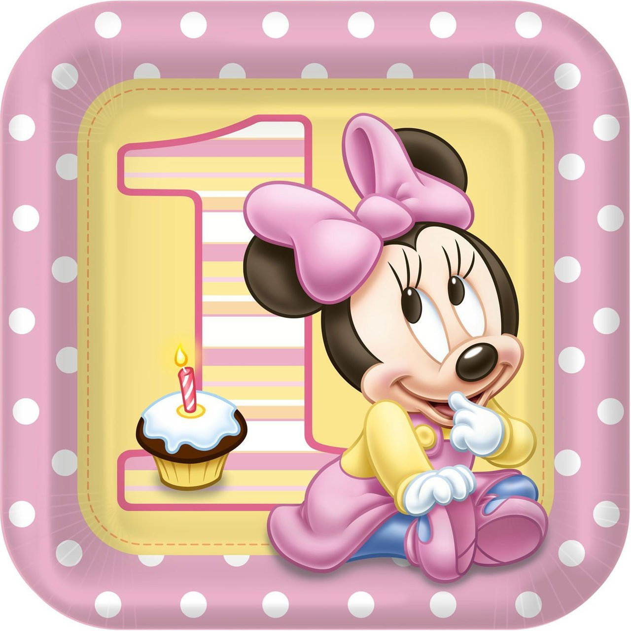 Minnie Mouse Large 9 Inch Square Lunch Dinner Plates - Baby 1st Birthday