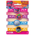 Trolls  Pack of 4 Rubber Bracelets