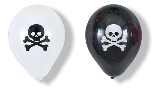 Skull  Pack of 6 Latex Rubber Balloons (Helium Quality)