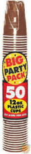 Big Party Pack 12 oz Plastic Cups - Chocolate Brown