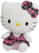 "Hello Kitty Medium TY Beanie Buddy 11"" Plush Toy - Tartan Plaid Overalls"