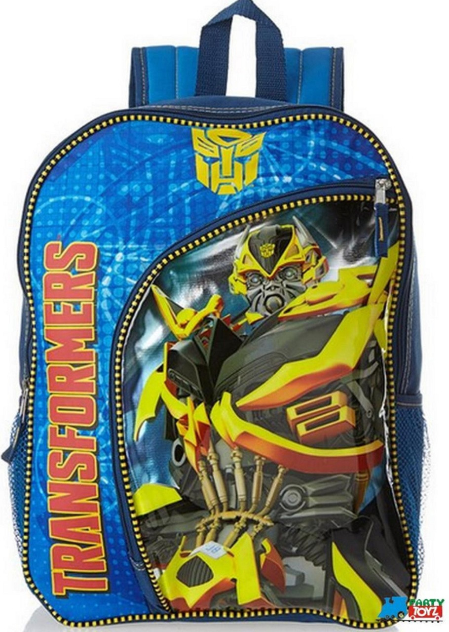 """TRANSFORMERS BACKPACK NAVY BLUE MISSION COMPLETE LARGE BOYS SCHOOL BAG 16/"""" NWT"""
