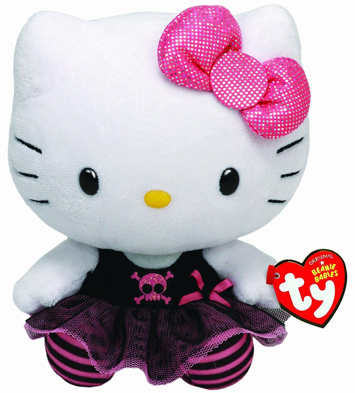 "Hello Kitty Small TY Beanie Baby 6.5"" Plush Toy - Goth Kitty"