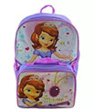 "Princess Sofia First Large 16"" Cloth Backpack Book Bag Pack with Lunch Box Case"