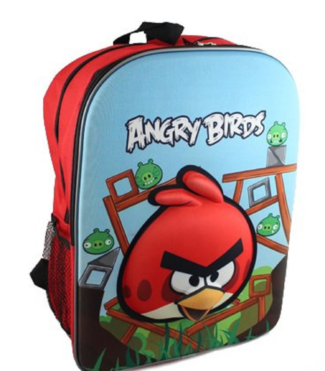 "Angry Birds 16"" Backpack Book Bag Sack School - Bird Red Pig Large 3D"