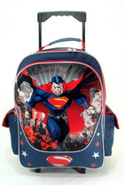 Superman Large Rolling 16 Inch Cloth Backpack With Stars