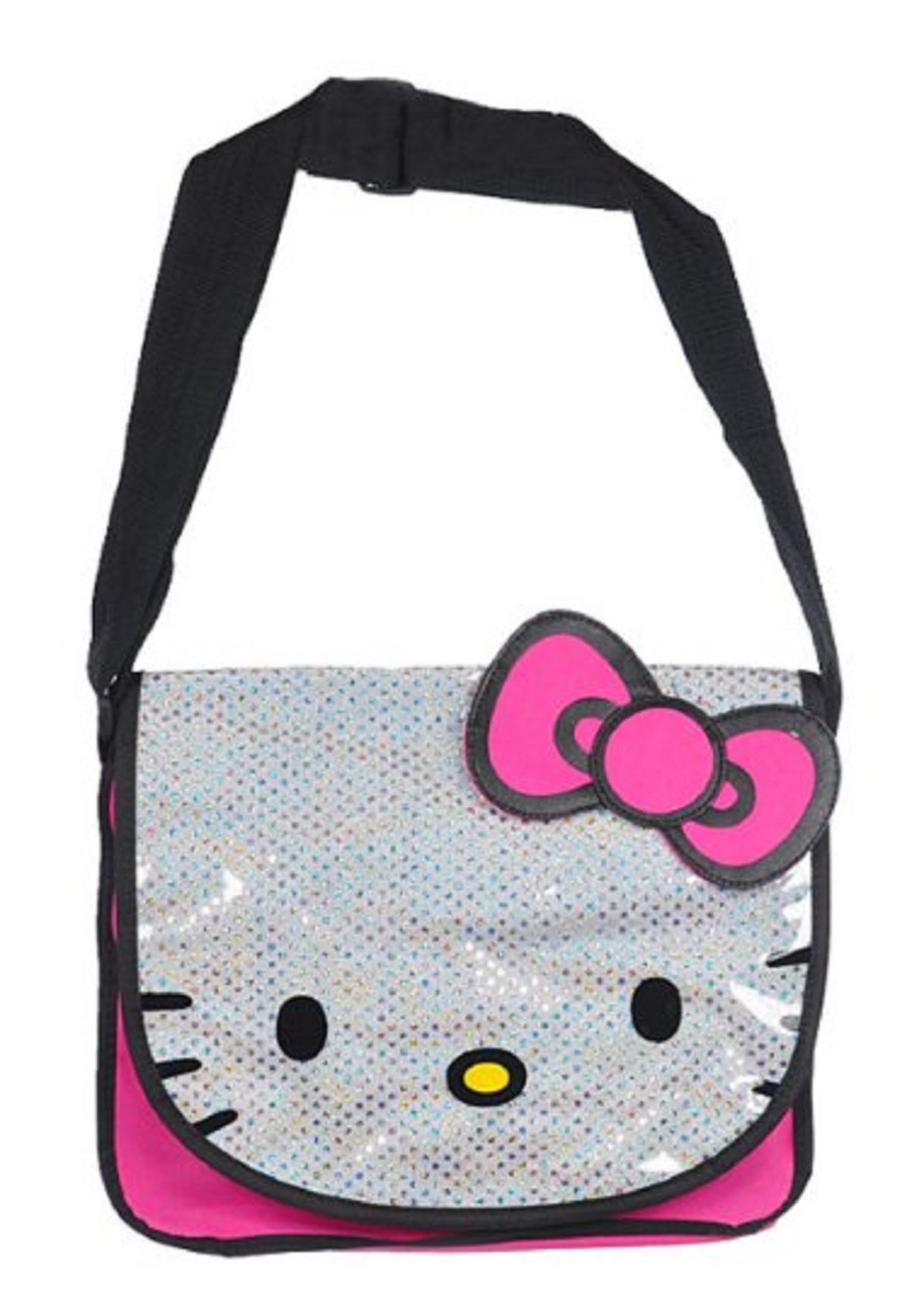 cfb2c859c62b Hello Kitty Large Cloth Messenger Backpack Laptop Bag Sling - Pnk Wht. Loading  zoom