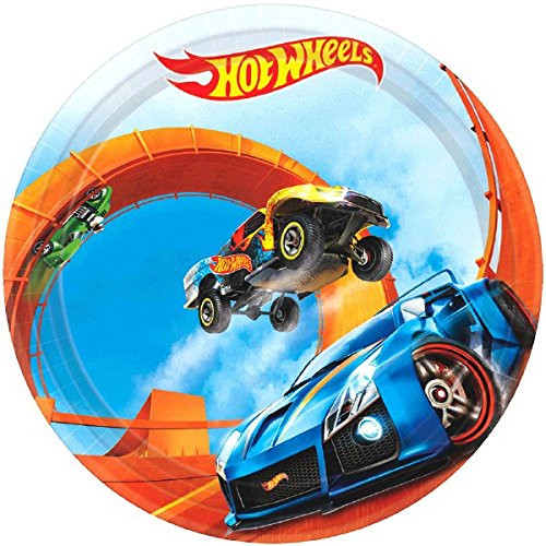 Hot Wheels Small 7 inch Party Cake Dessert Plates - Wild Racer