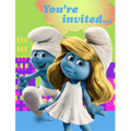 The Smurfs Pack of 8 Invitations  - Blue