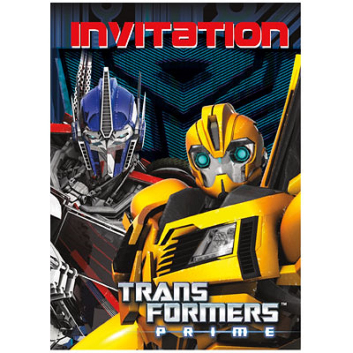Bumblebee Featured Transformers Invitations Pack Of 8