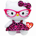 "Hello Kitty Small TY Beanie Baby 6.5"" Plush Toy-Leopard Dress"