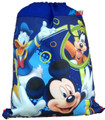 Drawstring Bag - Mickey Mouse, Goofy, and Donald Blue Cloth String Bag