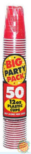 Big Party Pack 12 oz Plastic Cups - Apple Red
