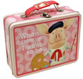 Olivia the Pig Square Carry All Tin Stationery Lunchbox Lunch Box - Pink
