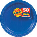 Big Party Pack Large 9 Inch Lunch Paper Plates - Bright Royal Blue