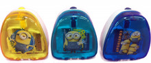 Despicable Me Minions Set of 3 Pencil Sharpeners- Yellow, Teal, Blue