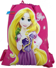 Tangled Princess Rapunzel Hot Pink Cloth String Bag By Drawstring