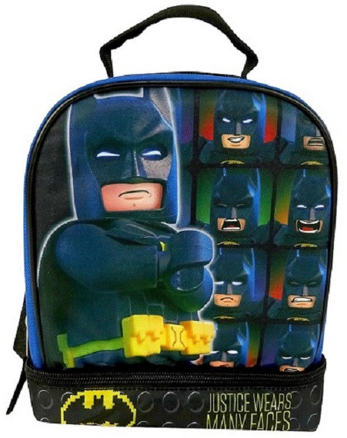 """LEGO Batman """"Justice Wears Many Faces"""" Dual Compartment Lunch Bag Lunch Box"""