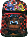 Five Nights at Freddy's Large Backpack- Red and Black Checkers