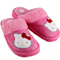Hello Kitty Pink Plush Slippers - Sz 8-10