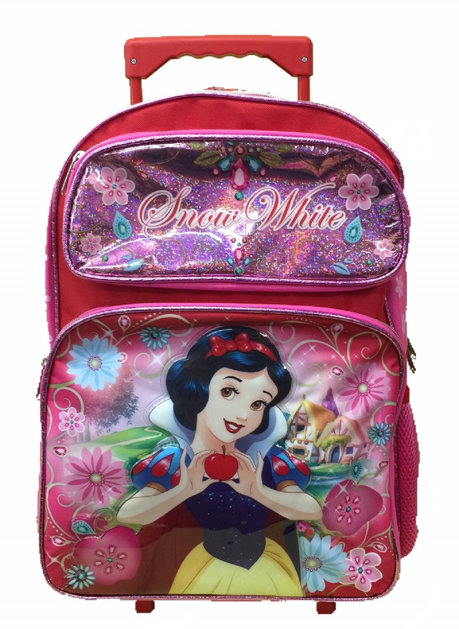 Snow White - Large Rolling Backpack - 16 Inches - Pink
