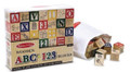 Deluxe Wooden ABC/123 Blocks Set With Storage Pouch