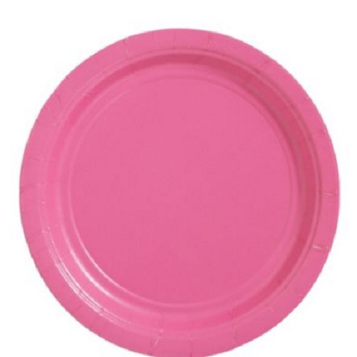 """Hot Pink 9"""" Inch Lunch Paper Plates"""