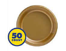 "Big Party Gold 7"" Inch Plastic Dessert Plates (50 ct)"