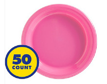 "Big Party Bright Pink 7"" Inch Plastic Dessert Plates (50 ct)"