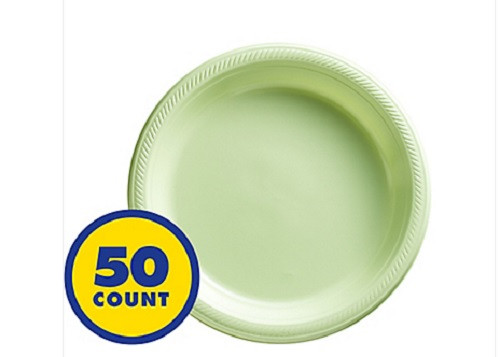 "Big Party Leaf Green 7"" Inch Plastic Dessert Plates (50 ct)"