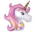 Unicorn Balloon - Large Metallic - 33 X 29 Inch - Head Shaped