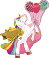 Unicorn Balloon - Large Metallic - 31 X 29 Inch - Flying Unicorn