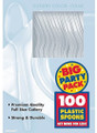 Party Favors - Big Party Pack - Clear - Plastic Spoons - 100ct