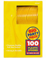 Party Favors - Big Party Pack - Sunshine Yellow - Plastic Spoons - 100ct