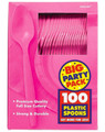 Party Favors - Big Party Pack - Bright Pink - Plastic Spoons - 100ct
