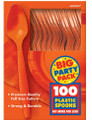 Party Favors - Big Party Pack - Orange - Plastic Spoons - 100ct
