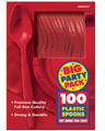 Party Favors - Big Party Pack - Red - Plastic Spoons - 100ct