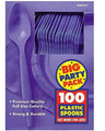 Party Favors - Big Party Pack - New Purple - Plastic Spoons - 100ct