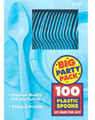 Party Favors - Big Party Pack - Caribbean Blue - Plastic Spoons - 100ct