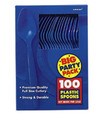 Party Favors - Big Party Pack - Bright Royal Blue - Plastic Spoons - 100ct